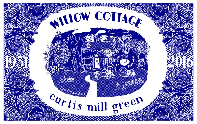 Willow cottage tea towel